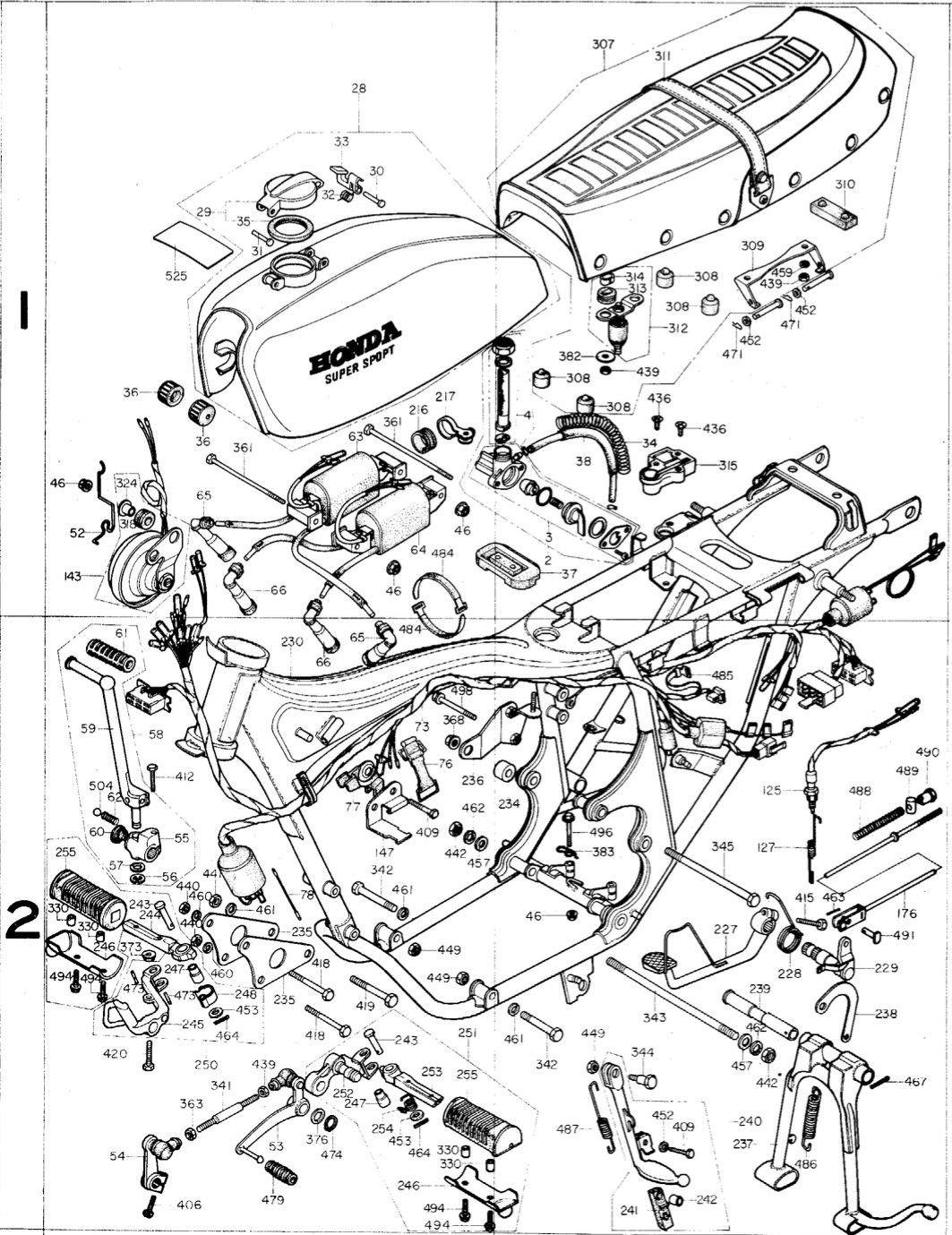 1975 1976 HONDA CB400F SS XRAY PARTS SPECIFICATIONS