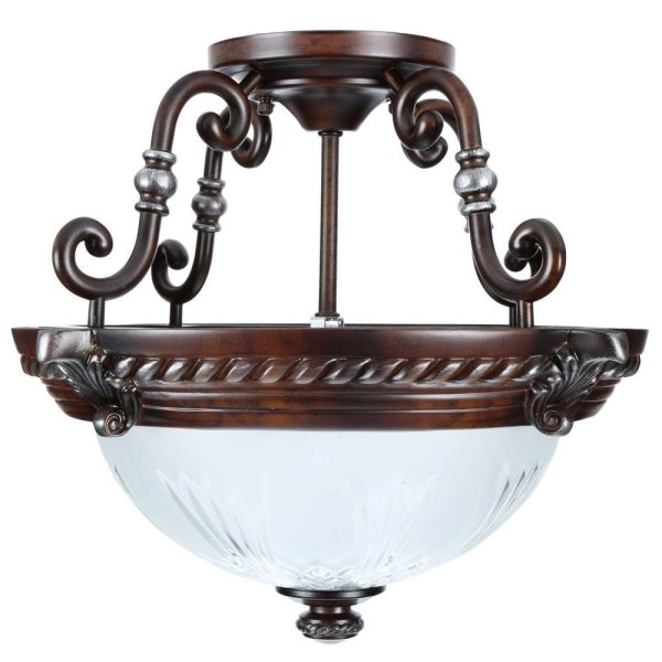 Hampton Bay Bercello Estates 2-light Volterra Bronze Semi-flush Mount Light Fixture