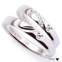 Disney  THE KISS Mickey mouse Diamond Pair ring Sterling ...