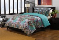 KING Teal Blue Turquoise Paisley Quilt Coverlet Bedspread ...