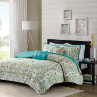 5Pc Teal Blue Green Yellow QUEEN Comforter Set Ogee Floral