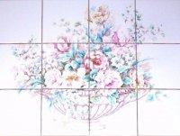 CLOSEOUT Rose and Peonies Ceramic Tile Mural 12 pcs 4.25 ...