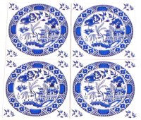"""Closeout Blue Willow Ceramic Tile set of 4 of 4.25"""" x 4.25 ..."""