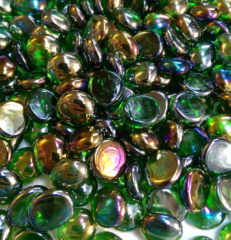 Creative Stuff Glass  500 pcs Crystal Irid Green Glass