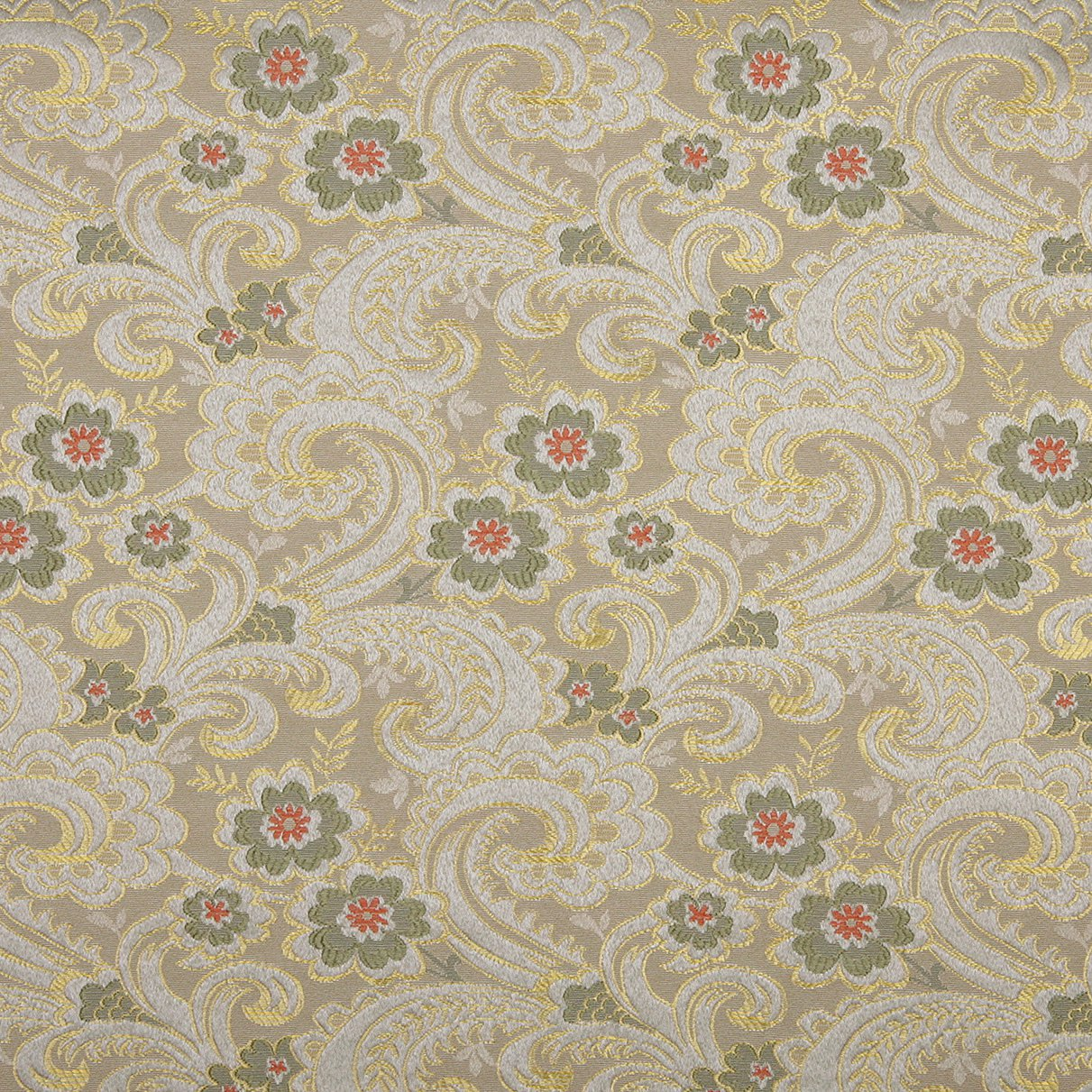 brocade sofa fabric couch vs 54 quot wide e391 gold white red and green paisley floral