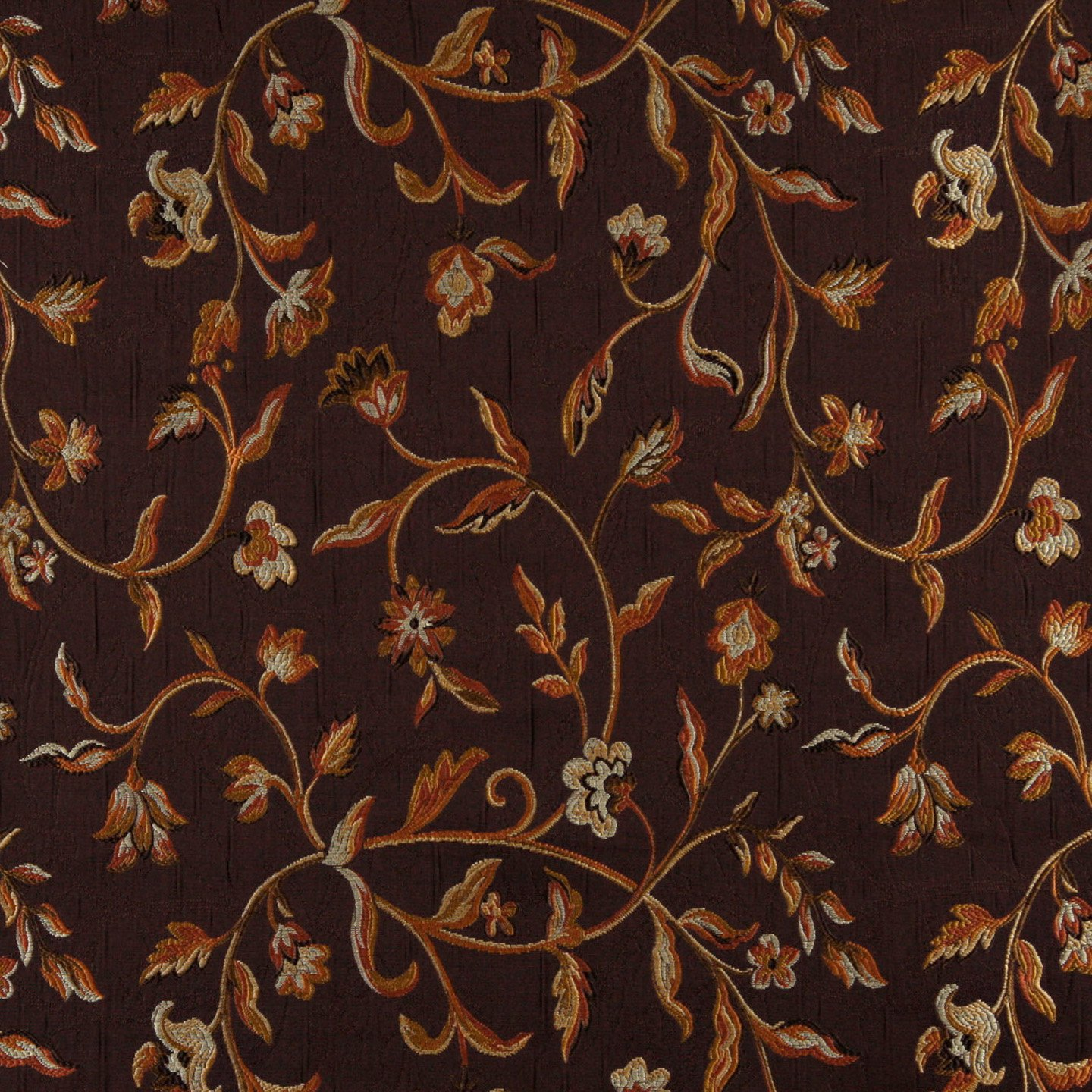 brocade sofa fabric floor level ikea 54 quot wide k0011b brown gold persimmon ivory embroidered