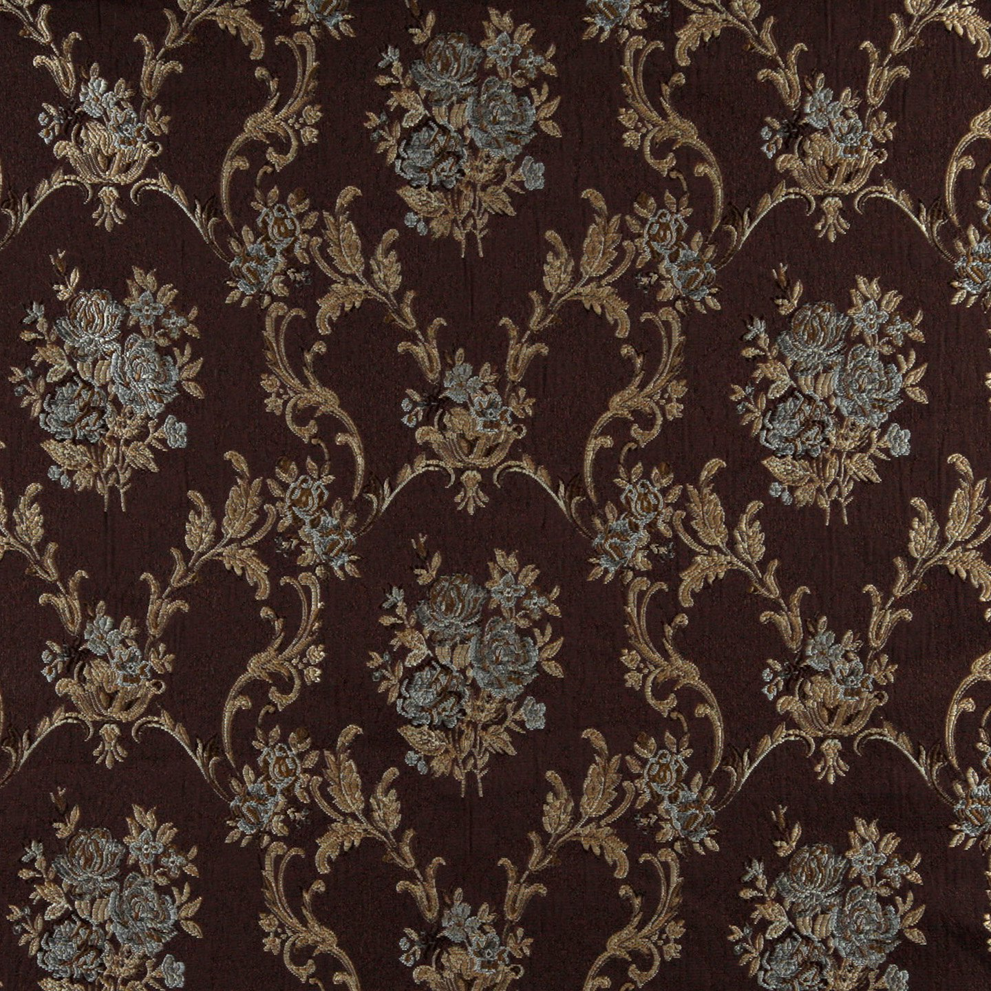 brocade sofa fabric puff k0014f brown light blue gold ivory embroidered floral