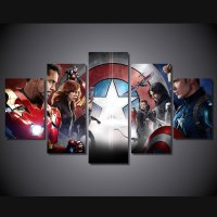 Avengers Marvel DC Movie 5pc Framed Canvas Oil Painting ...