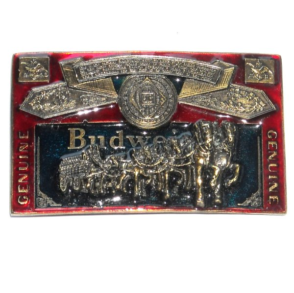 Budweiser Red 3d Great American Pewter Belt Buckle