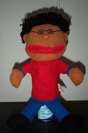 BLACK HAIR BOY PUPPET With Glasses Whole Body Childrens