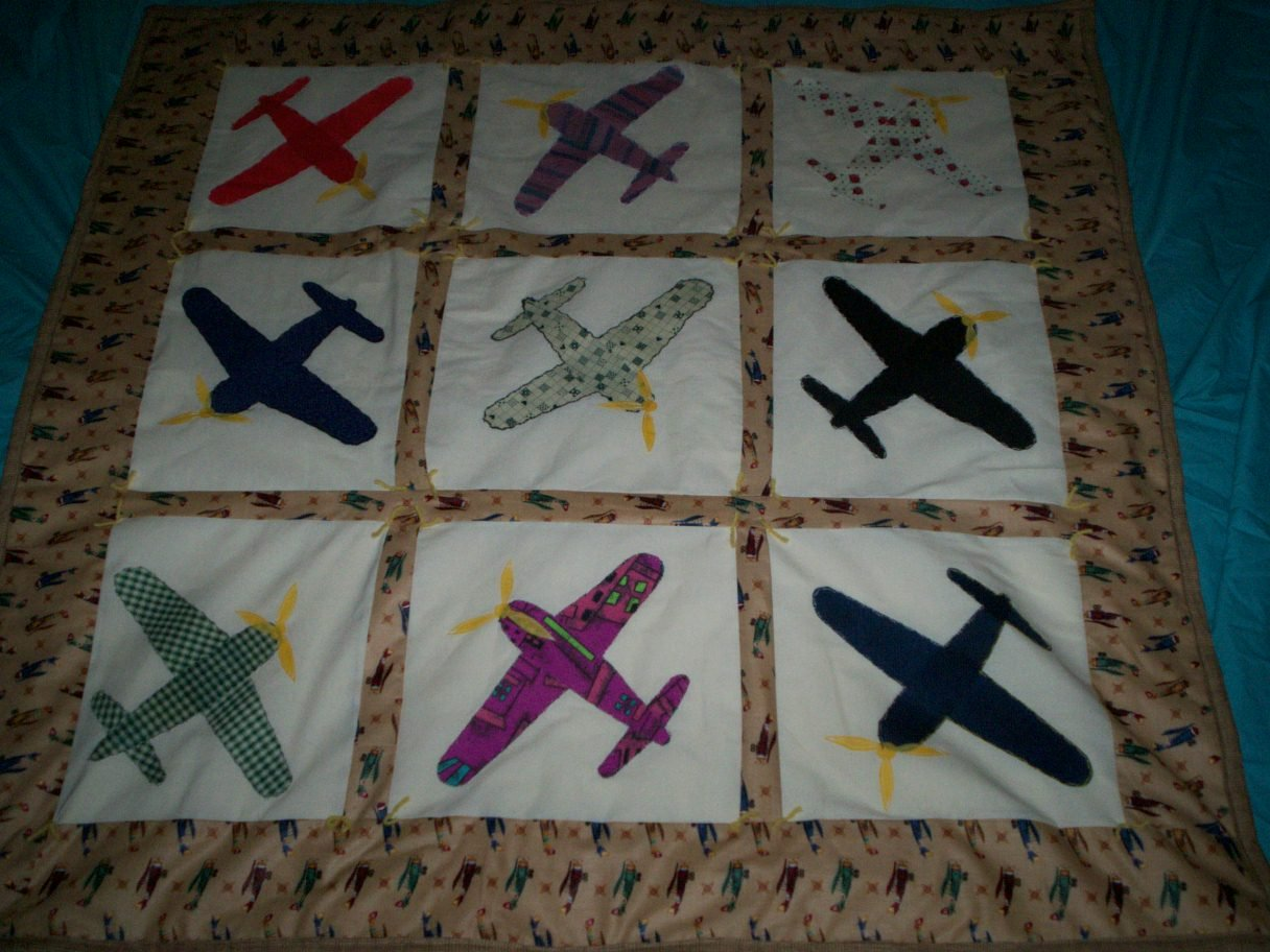 baby or lap quilt airplanes galore handcrafted 45 inches