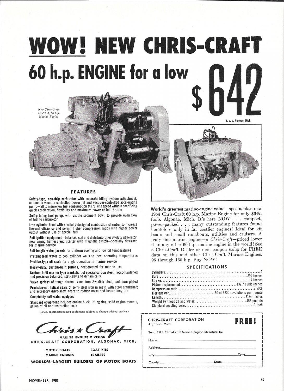 1953 Chris- Craft Marine Engines Ad- Nice Photo of Model A