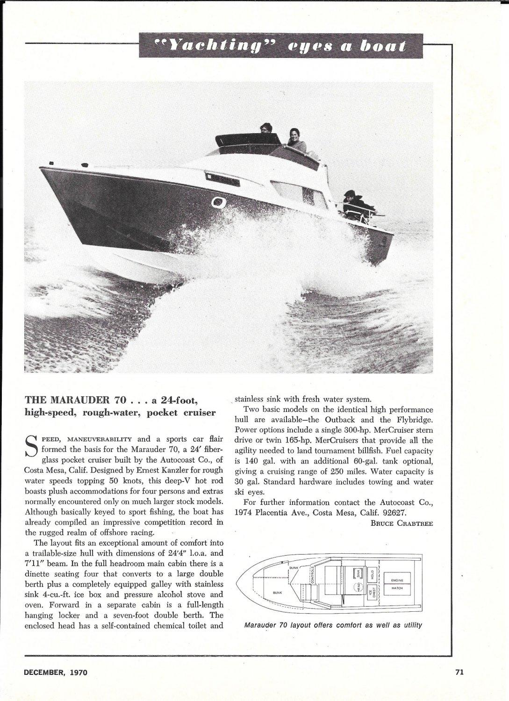 1970 Autocoast Co Marauder 70 Yacht Review- Nice Photo