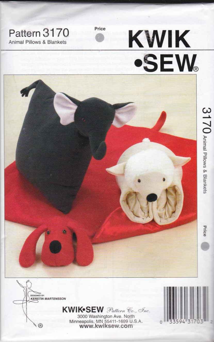 Kwik Sew Sewing Pattern 3170 Childrens Animal Pillows
