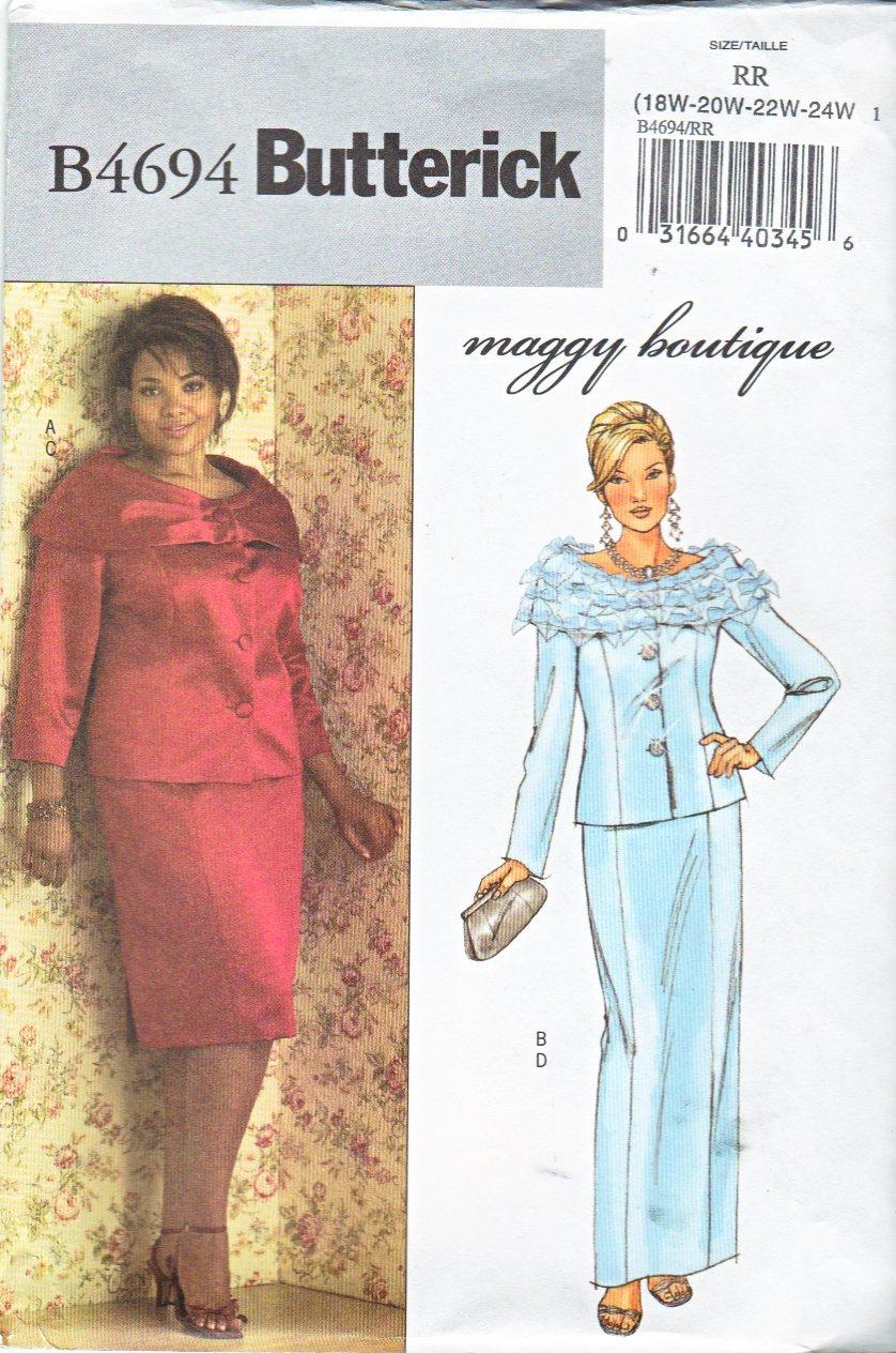 Butterick Sewing Pattern 4694 B4694 Womans Plus Size 18W 24W Formal Jacket Long Short Straight Skirt
