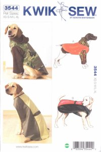Kwik Sew Sewing Pattern 3544 Sizes XS-XL Dog Coats Raincoat