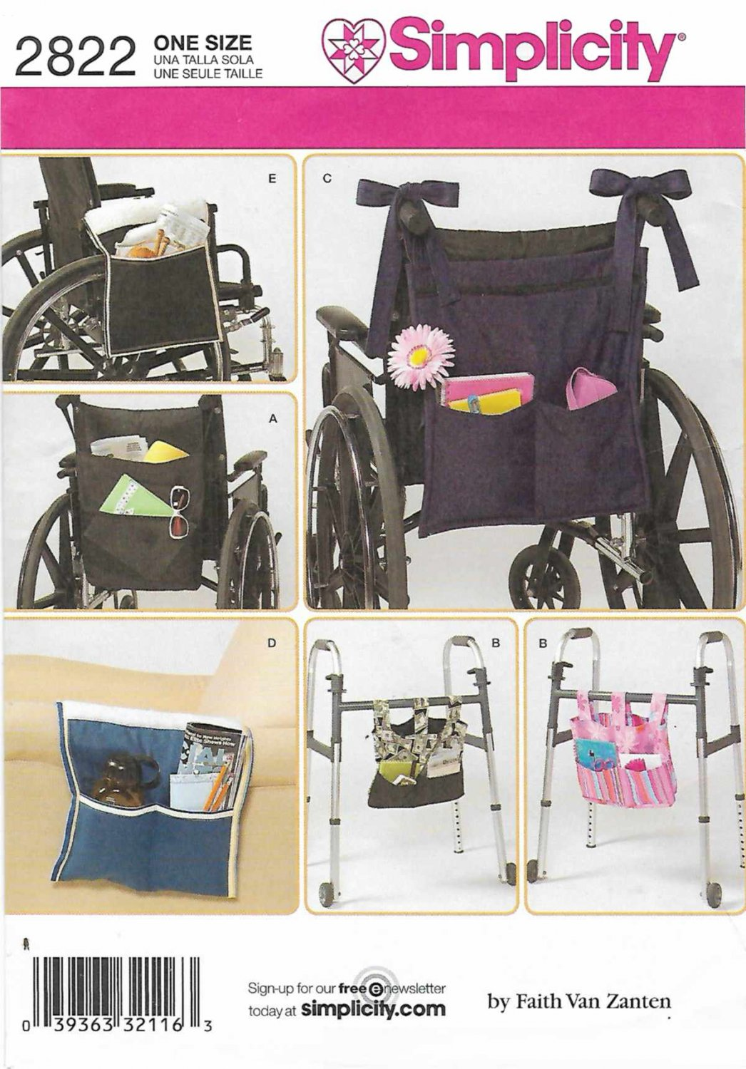 chair bags for school pattern purple banquet covers simplicity sewing 2822 totes wheelchair walker
