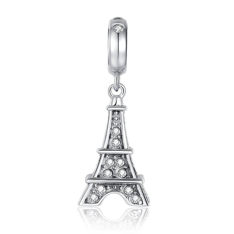 Eiffel Tower Dangle Swarovski Charm 925 Sterling Silver