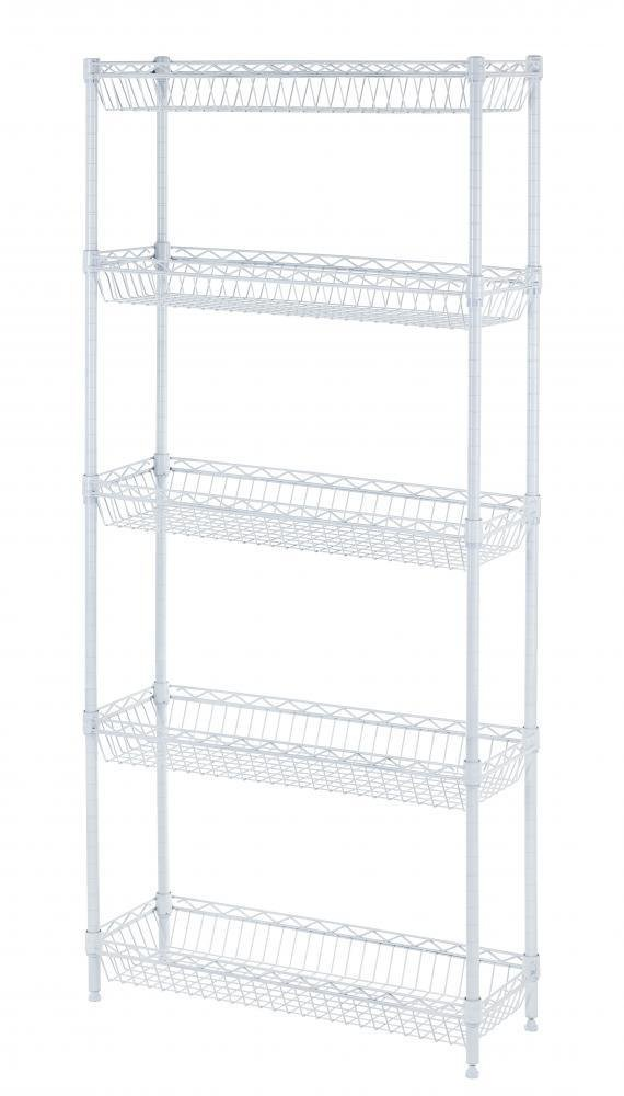 5-shelf Home-style White Steel Wire Shelving Storage Rack