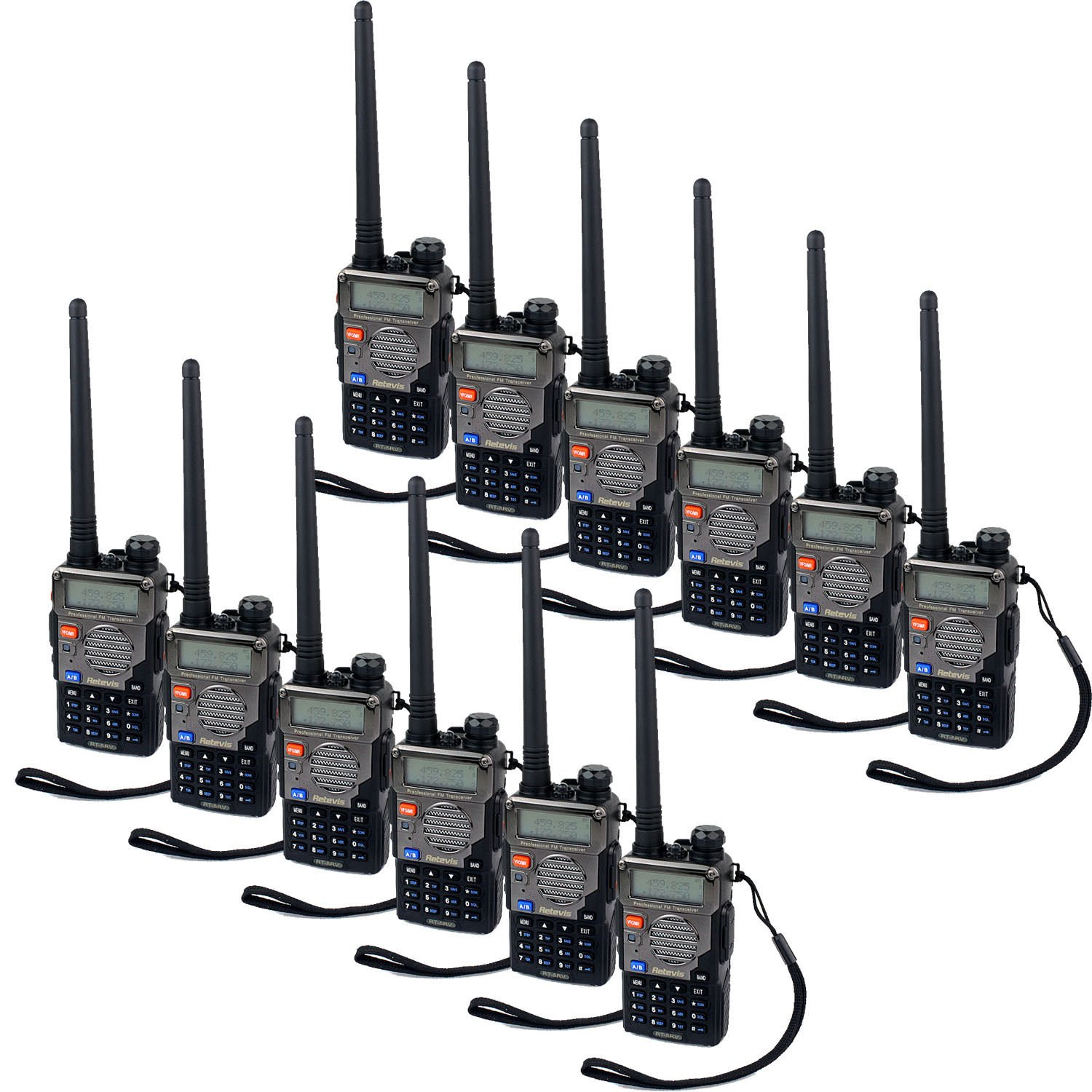 12x Retevis RT-5RV Walkie Talkie 128CH VHF/UHF CTCSS/DCS