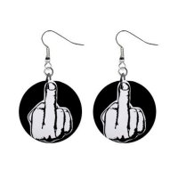 Middle Finger Dangle Earrings Jewelry 1 inch Buttons 12183464