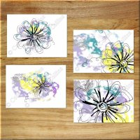 Teal Purple Yellow Gray Wall Art Prints Pictures Modern ...