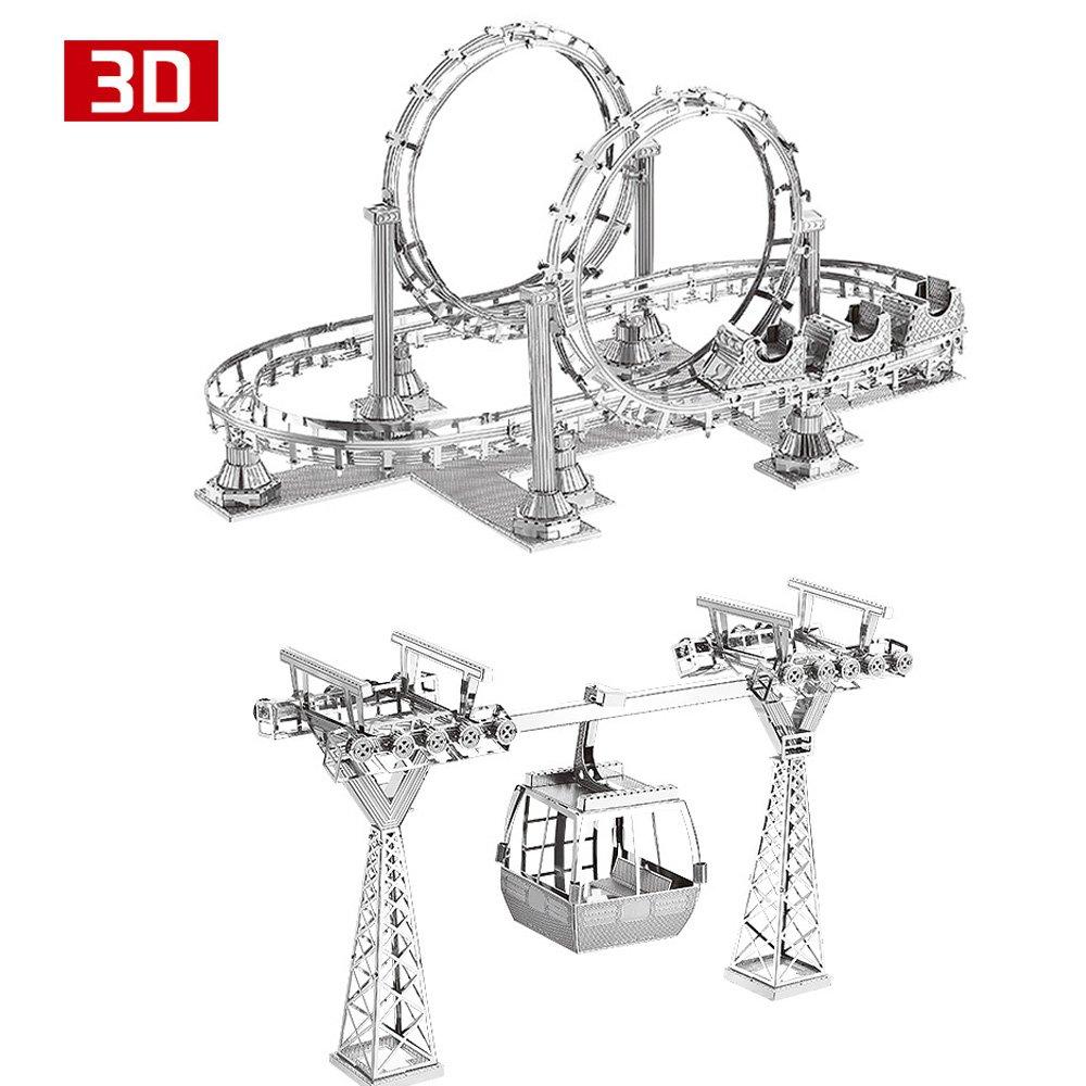 2pcs 3D Metal Nano Puzzle Roller Coaster Cable Car Model