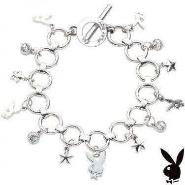 Playboy Bracelet Bunny logo Charms Stars Swarovski Crystal
