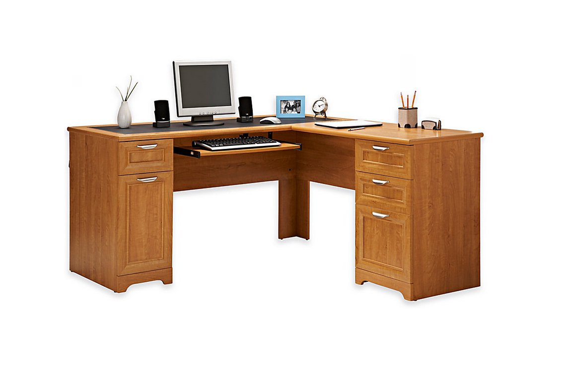 Realspace Magellan Collection LShaped Desk Honey Maple