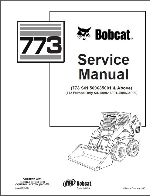 Bobcat 773 Skid Steer Loader Service Repair Manual CD