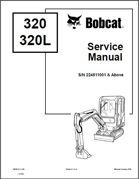 Bobcat 320 / 320L Excavator Service Repair Manual on a CD