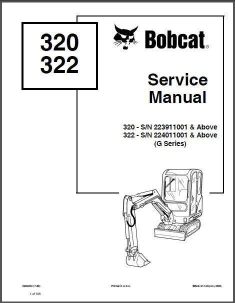 Bobcat 320 / 320L / 322 Excavator Service Repair Manual on
