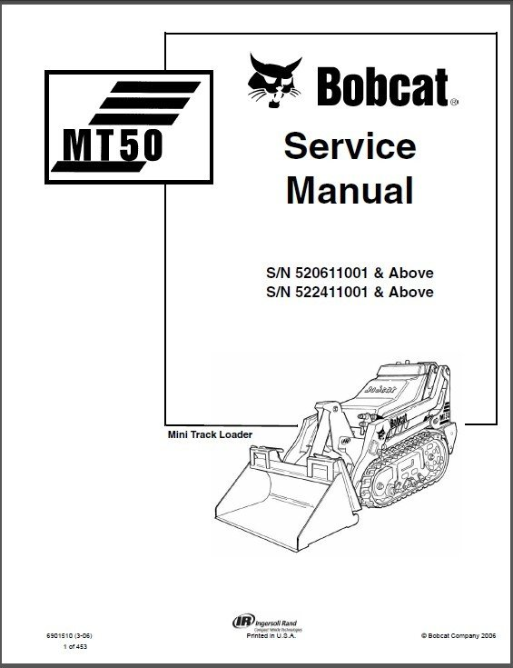 Bobcat MT50 Mini Track Loader Service Repair Manual on a