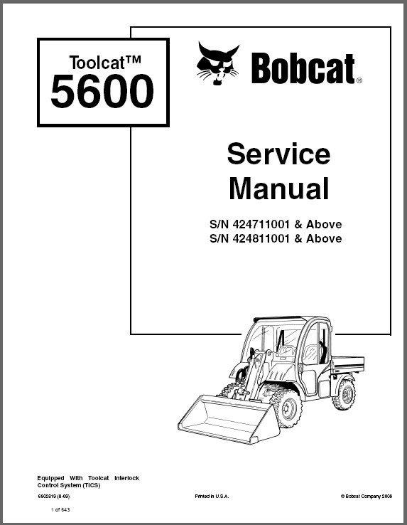 Bobcat Toolcat 5600 Utility Work Machine Service Manual on