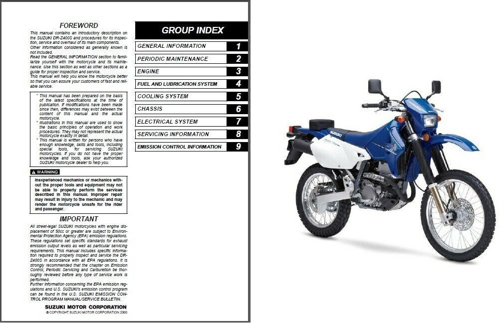 2000-2009 Suzuki DR-Z400S Service Repair Manual CD