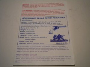 Rough Rider Single Action Revolvers Owners Manual Pistol Gun Handgun Firearm