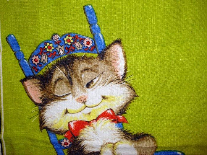 Cat in Swedish rocking chair Irish linen towel Dunmoy