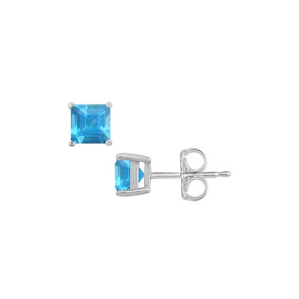 December Birthstone Square Blue Topaz Stud Earrings