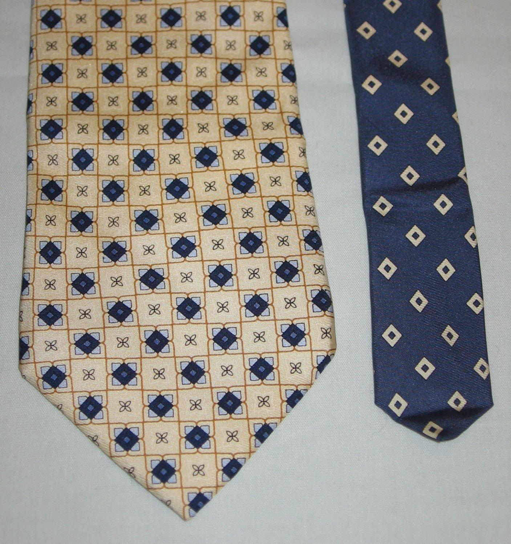 TOMMY HILFIGER Mens Silk Tie Necktie Cream with Tiny Blue