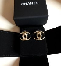 CHANEL Crescent Moon Gold/Clear Crystal Stud Earrings ...