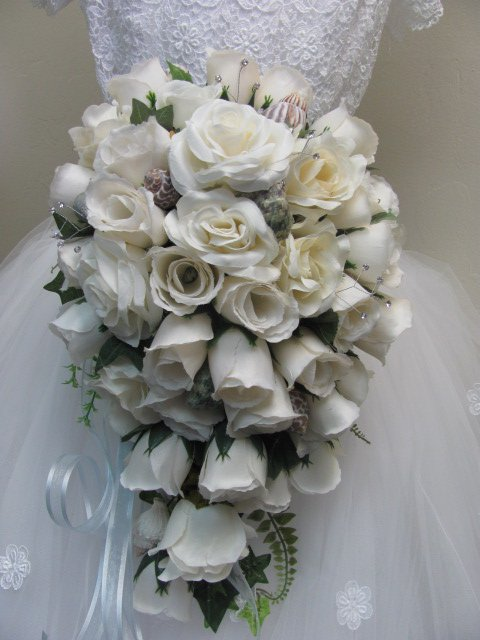White Rose Cascade Bridal Bouquet with Sea Shells for