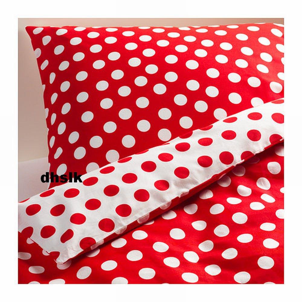 IKEA STENKLOVER TWIN Duvet COVER Set POLKA DOTS Red STENKLVER