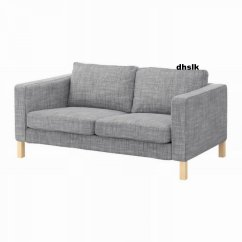 Linen Bench Cushion Sofa Leather And Loveseat Recliner Ikea Karlstad Isunda Gray 2 Seat Slipcover