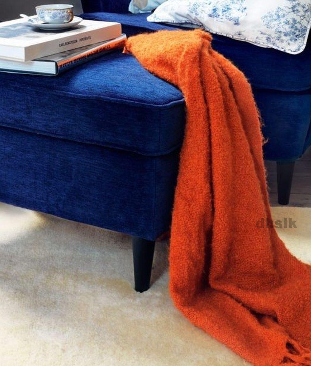 IKEA RITVA ORANGE Throw BLANKET Afghan SOFT Mohair Blend