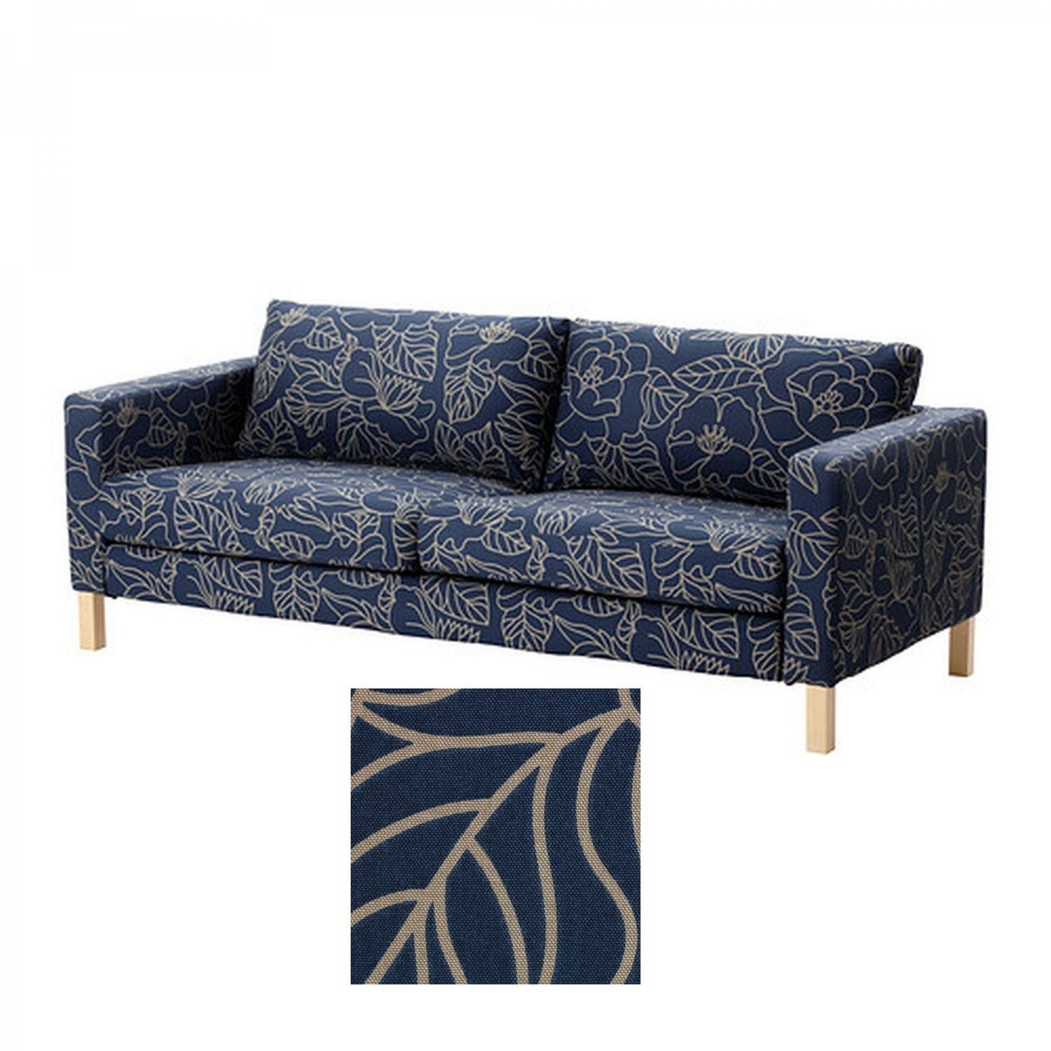 cardboard sofa new leaf grey leather dfs ikea karlstad 3 seat slipcover cover bladaker blue