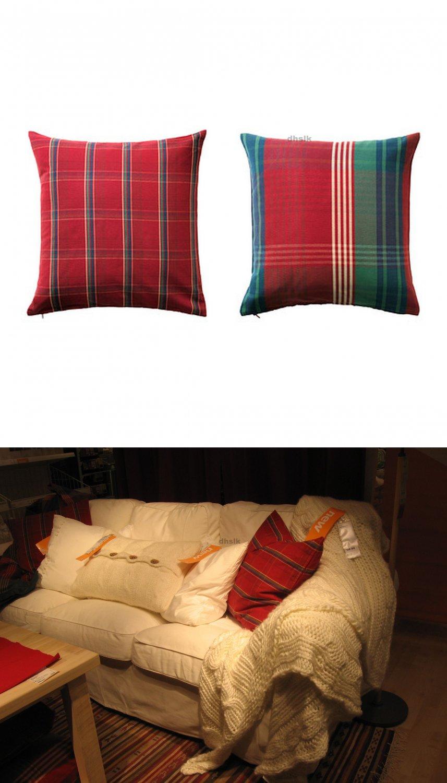 IKEA ANNBRITT Red Plaid Pillow COVER Sham Cushion Cvr 2