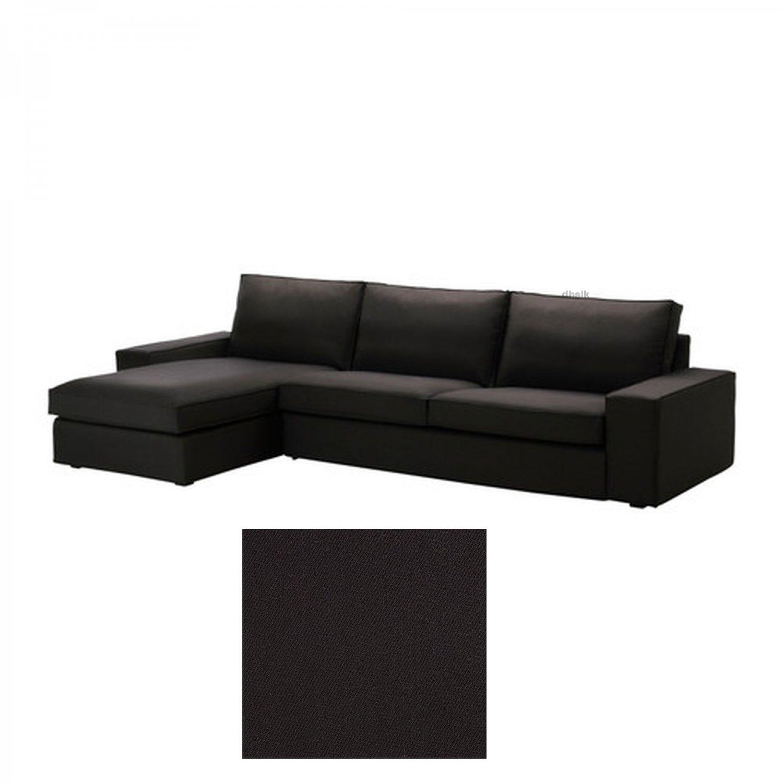 black sofa chaise longue linen sofas auckland ikea kivik 3 seat w slipcover cover