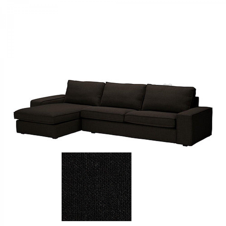 black sofa chaise longue tan microfiber bed ikea kivik 3 seat w slipcover cover
