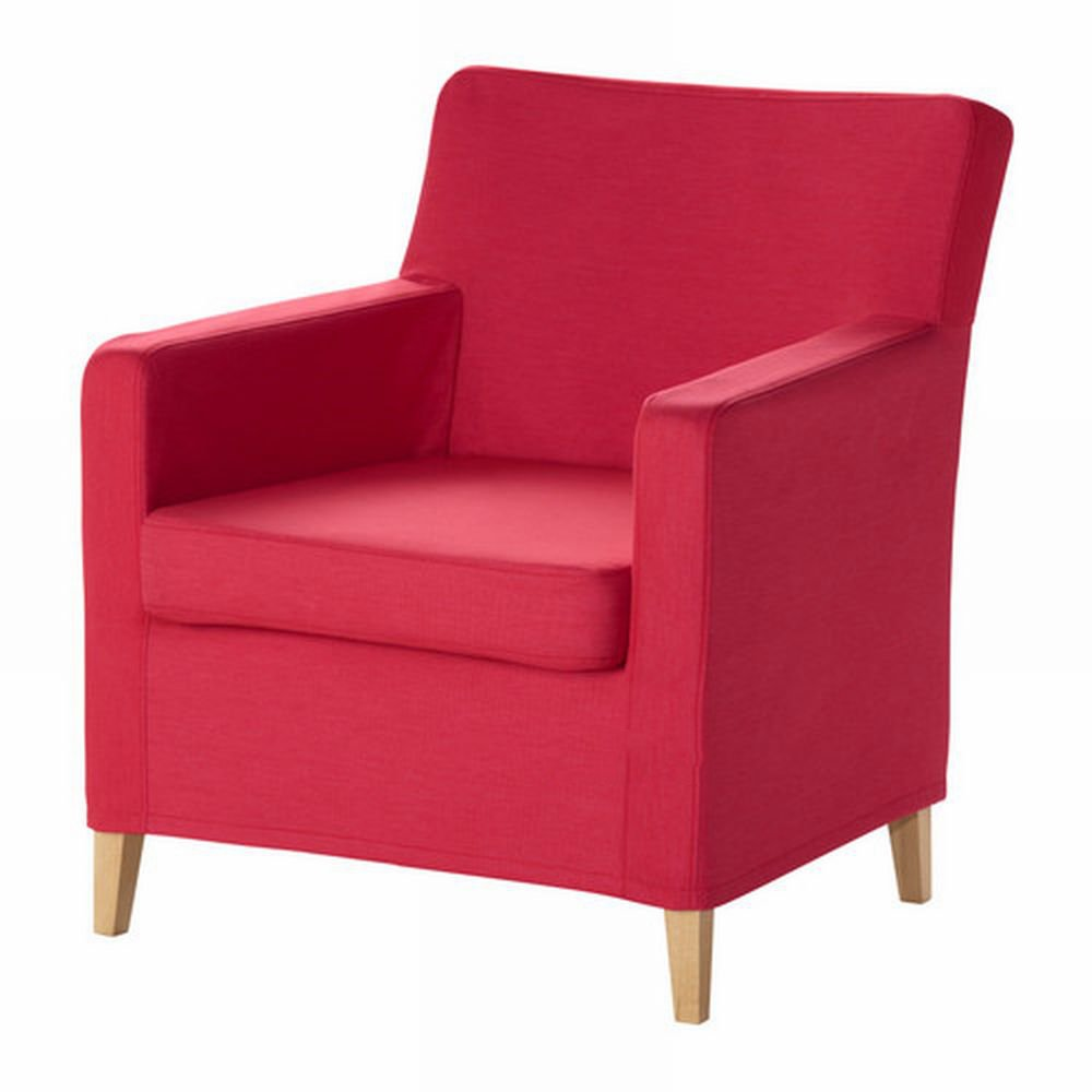 pink slipcover chair desk in grey ikea karlstad armchair cover sivik red pink-red