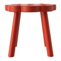 IKEA RYSSBY RED Wooden STOOL Chair Footstool Solid Wood